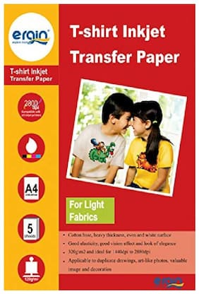 ERGIN 120GSM T-Shirt Transfer A4 Size Paper for Light Fabric ( 05 Sheets)