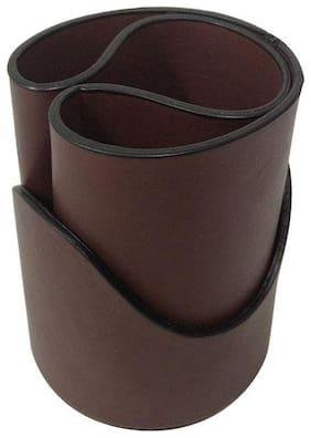 Essart FAUX Leather self designer print Pen Tumbler with contrast edge colour - Brown