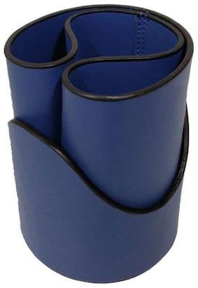 Essart FAUX Leather self designer print Pen Tumbler with contrast edge colour - Blue