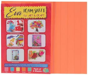 Bauzooka Eva Foam Sheet For Art & Craft Orange Color A4 Size 3mm Thickness