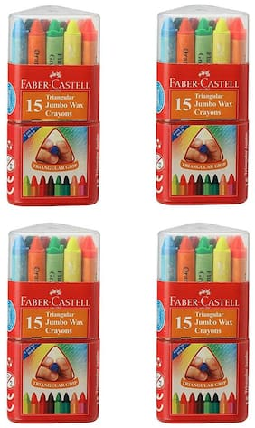 Faber-Castell Triangular jumbo Wax Crayons 15 Pieces - Assorted (Pack of 4)