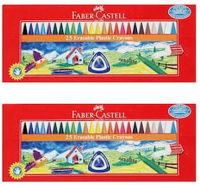 Faber Castell Erasable Plastic Crayons Length 110mm - 25 Pieces - Assorted (Pack of 2)