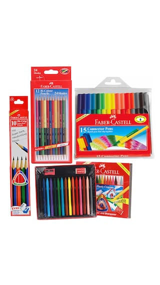 Faber castell stationery combos set bi colour pencils erasable plastic crayons pencil sketch pen