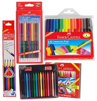 Faber Castell Stationery Combos Set-Bi Colour Pencils  Erasable Plastic Crayons  Pencil  Sketch Pen