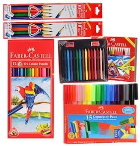Faber Castell Stationery Combos Set-Tri Colour Pencils  Erasable Plastic Crayons  Pencil  Sketch Pen
