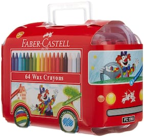Faber Castell 64 Wax Crayons in bus box