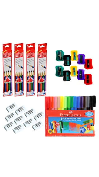 Faber castell stationery combos set pencil eraser sharpener sketch pen