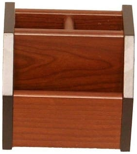 Fabulo 3 Compartment Wooden Desk Organizer/ Pen stand/ Card Holder