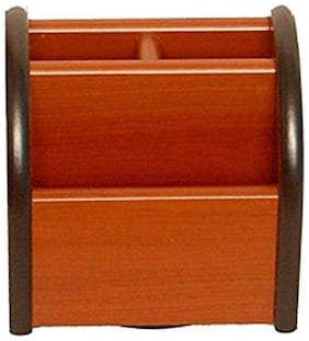 Fabulo 3 Compartments Wooden Mobile Cum Pen Holder Size-lxbxh-3x3x4 Inch