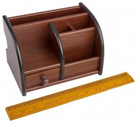 Fabulo Multi-Functional Wooden Pen Stand with Drawer