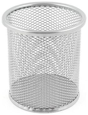 Fabulo Silver Gray Metal Mesh Pen Pencil Holder Container