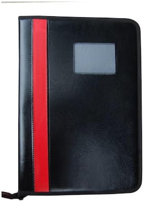 Faux Leatherite Document Portfolio Resume Holder/File/Folder With Zipper (20 Pockets)-Assorted Strip