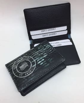 Card holders buy leather visiting wallet atm business card faux leather printed credit and atm card holder reheart Image collections