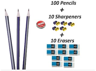 Fnc Pencils Pack ( 100 Pencils 10 Eraser & 10 Sharpener )