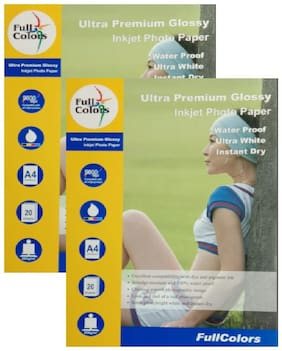 Full Colors 254GSM Ultra Premium Glossy Inkjet Photo Paper A4 Size ( 20 Sheets X 02 Pack )