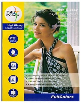 Full Colors 180 GSM High Glossy Inkjet Photo Paper A4 Size ( 20 Sheets X 2 Pack )