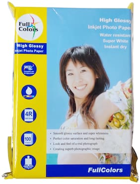 Full Colors CC (Cast Coated) 4R (4 x 6) Water Resistant Instant Dry High Glossy Inkjet Photo Paper 4x6 (102x152mm) 210 GSM (Set of 4-100X4 = 400 Sheets)
