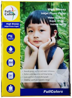 Full Colors CC (Cast Coated) Water Resistant Instant Dry High Glossy Inkjet Photo Paper A4 (210 x 297mm) 210 GSM (Set of 4-20X4 = 80 Sheets)