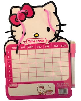Funcart Hello Kitty  2 in 1 Scribbling board & Time Table organiser with Black Marker & Eraser