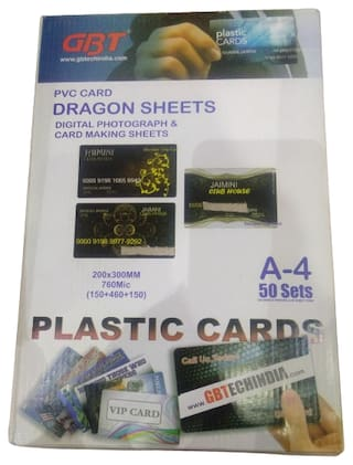 GBT PVC Card Dragon Sheet A4;50Set 50 Thick PVC Sheets;100 Printing Sheets