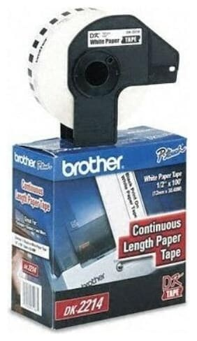 """Genuine Brother DK2214 1/2"""" Continuous Paper Label Tape for QL-500/QL-550"""