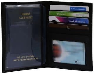 Genuine Leather Black Travel Document Holder