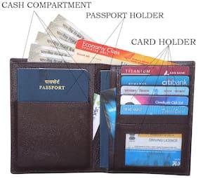 Genuine Leather Brown Travel Document Holder
