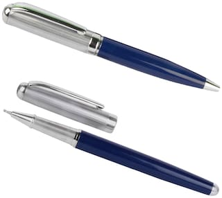 Genuine Oculus  Duet 1760-1761 Blue & Silver Combination Metallic Ball Pen & Roller Ball Pen Combo, Fitted with Germany Made Refill, Presented in a Gift Box.