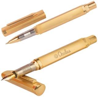Genuine Oculus  Duet 1913-1940 Golden Triangular Shape Roller Ball Pen & Fountain Pen. Presented In Gift Box.