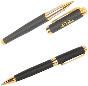 Genuine Oculus  Duet 1530-1531 Black & Golden Combination Metallic Roller Ball Pen Combo, Fitted with Germany Made Refill, Presented in a Gift Box.