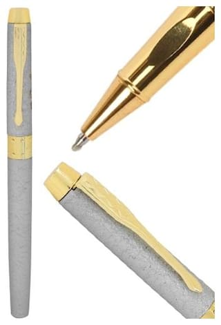 Genuine Oculus  Sand-Stone 2402 Designer Silver Grainy Sand Pattern Roller Ball Pen. Fitted with Germany Made Refill and Presented in Gift Box.