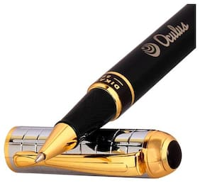Genuine Oculus  Robust-1401 Black/Golden Body, Fat/Thick Checkered Embossed Design metallic Roller Ball Pen, Fitted With Germany made Refill and presented in Gift Box.