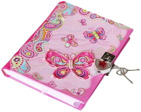 "Girls Pink Diary Fancy Butterfly Theme with Lock & 2 keys 7"" Secret Journal"