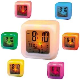 Glow Color Change Led Alarm Clock Calendar Temperature Desktop Digital Clocks Table Backlight Light Decoration Digital Multi-Color Clock