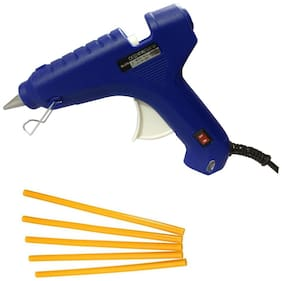 GLUN BLUE 60W 60 WATT PROFESSIONAL LEAK PROOF HOT MELT GLUE GUN (ON OFF SWITCH AND INDICATOR) WITH 5  YELLOW GLUE STICKS