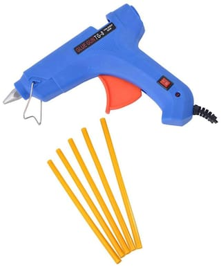 GLUN BLUE 80W 80 WATT LEAK PROOF PROFESSIONAL HOT MELT GLUE GUN (ON OFF SWITCH AND INDICATOR) WITH 5 YELLOW GLUE STICKS