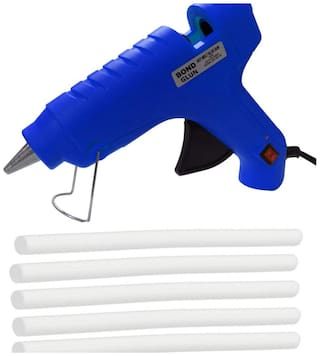 Glun Bond Blue 40 Watt Hot Melt Glue Gun With On Off Switch Indicator And Leak proof Technology Free 5 Milky White Glue Sticks