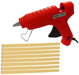 Glun Bond Red 40 Watt Hot Melt Glue Gun With On Off Switch Indicator And Leak proof Technology Free 8 Yellow Glue Sticks