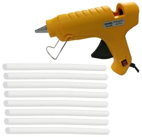 Glun Bond Yellow 40 Watt Hot Melt Glue Gun With On Off Switch Indicator And Leak proof Technology Free 8 Milky White Glue Sticks