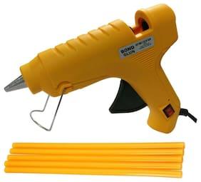 Glun Bond Yellow 40 Watt Hot Melt Glue Gun With On Off Switch Indicator And Leak proof Technology Free 5 Yellow Glue Sticks
