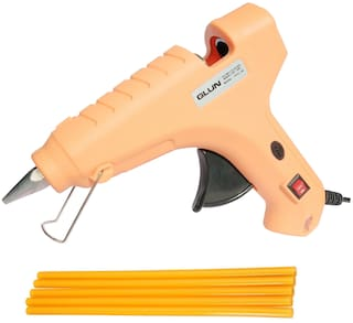 GLUN PEACH 80W 80 WATT LEAK PROOF PROFESSIONAL (ON OFF SWITCH & INDICATOR) HOT MELT GLUE GUN WITH 5 YELLOW GLUE STICKS