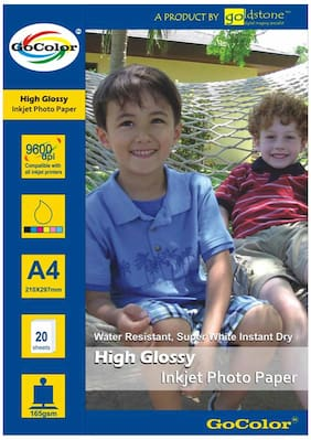 GoColor High Glossy Inkjet Photo Paper 165Gsm A4/ 20 Sheets