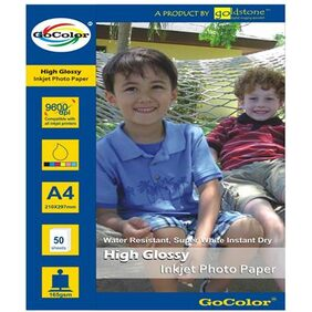 GoColor High Glossy Inkjet Photo Paper 165 GSM 50 Sheets A4 Size