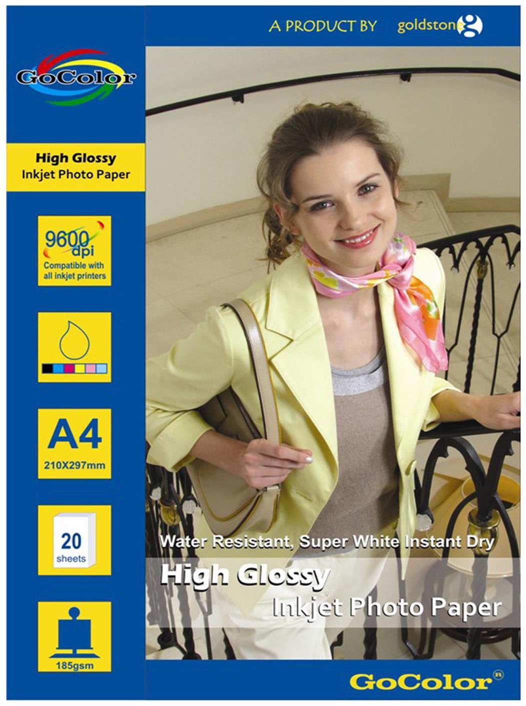 GoColor High Glossy Inkjet Photo Paper 185 GSM 20 Sheets A4 Size