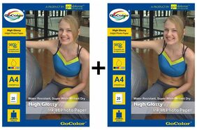 GoColor High Glossy Inkjet Photo Paper 220Gsm A4/ 20 Sheets X 2 Pack Combo