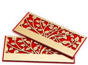 Golden Laser Cut Leaf Design Red Envelope