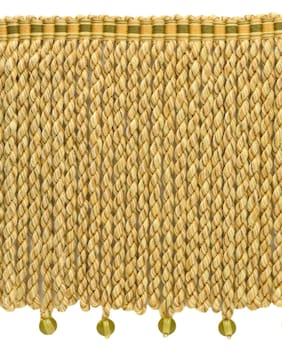 "Golden Olive 6"" Bullion Fringe with Beads [5 Yards]"