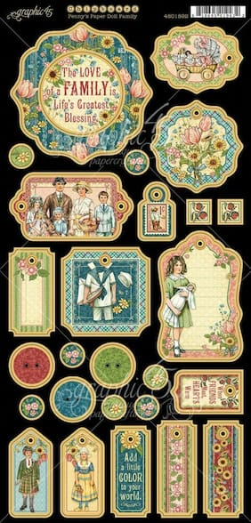 GRAPHIC 45 Penny's Paper Doll Family Chipboard*Scrapbook Embellishments