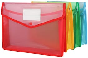 GreatDio  Envelope Folder,Transparent Poly-Plastic A4 Documents File Storage Bag With Snap Button Set Of 5/Certificate File Holder/Document Folder For Certificates A4 Size/Legal/Brief Bag For Document