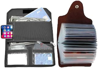 GreatDio  Pack Of 2 Leather Credit Card Holder/Business Card Holder/ATM Card Holder/Visiting Id Card Holder/Debit Card Holder for Men- 12 Slot Holds Upto 24 Cards And Cheque Book Holder Combo